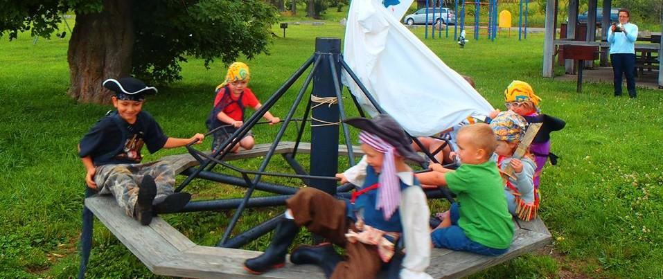 Widney Park pirates on merri go round